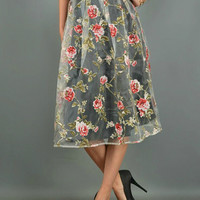 Ella Grey Rose Garden Skirt