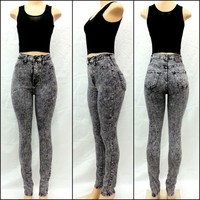 High Waist Acid Mineral Grey Wash Skinny Classic Denim Jean Pants