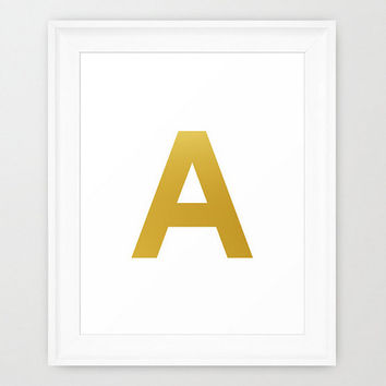 Gold Initial Print Poster Picture Your Choice Of Letter Gold Foil Initial Monogram Art  Home Wall Nursery Dorm Art Decor