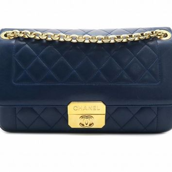 Chanel Quilting Calfskin Leather Gold Metal Chain Shoulder Bag Blue