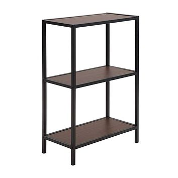 Three Tiered Wooden Storage Shelf with Metal Framework, Brown and Black