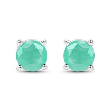 1.5CT Round Cut Natural Green Emerald Stud Earrings