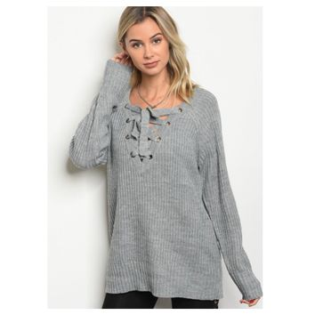 Cozy V Neck Lace Up Grey Knit Sweater