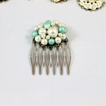 Old earring comb ivory mint aqua pearl glass vintage cluster wedding bridesmaid flowergirl retro re-purposed 50's 60's Great Gatsby OOAK
