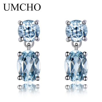 UMCHO Natural Sky Blue Topaz Gemstone Aquamarine Drop Earrings 925 Sterling Silver Earrings Jewelry Fine Earrings For Women Gift