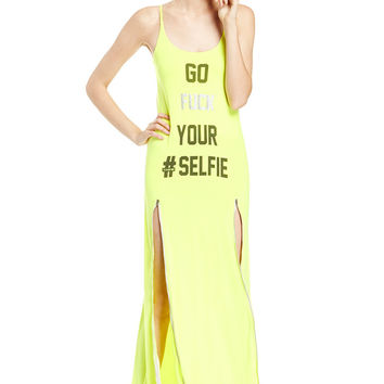 Yellow Strap Open Back Maxi Dress With Slit