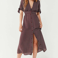UO Plunging Short Sleeve Striped Midi Dress | Urban Outfitters