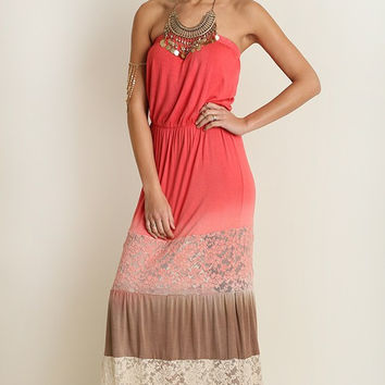 Lace Maxi Dress - Coral