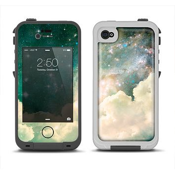 The Cloudy Grunge Green Universe Apple iPhone 4-4s LifeProof Fre Case Skin Set