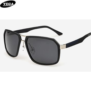 VEGA Cool Polarized Rectangle Sunglasses For Men Clear Sports Glasses Stainless Steel Shades 273