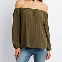 Crochet-Back Off-The-Shoulder Blouse
