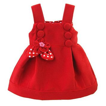 2017 Fashion Style Baby Girls Winter Dresses Floral Red Color Cotton Vestidos For 1 Years Old Baby Girl Clothing KD-1528