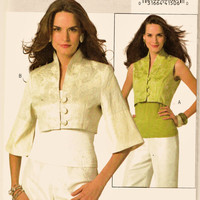 Butterick Pattern B4991 Lovely Loop-Button Crop Jacket or Vest Sz 6-12 Uncut FF Special Occasion Cropped Coat or Holiday Vest Sewing Supply