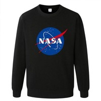 NASA Letters Printed Long Sleeve T Shirt Sweatshirt Black