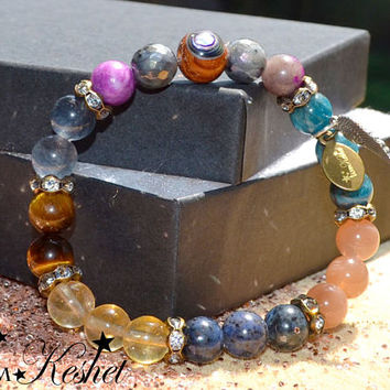 Weight loss & Motivation Bracelet Perfect Gift Angel Protection,Apatite, Sunstone, Labradorite, Guardian Angel, Girlfriend, wife, gift, bday