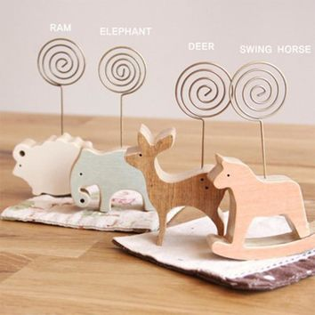 1 pcs animal wooden desktop figurines, wrought iron message note clip to clip pictures photo holder Home decor Arts crafts gift