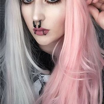 Long Double Colors Pink Grey Straight Synthetic Lace Front Wig