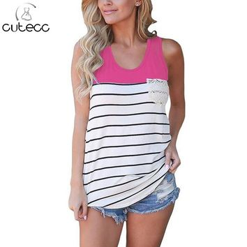 2017 summer casual loose women patchwork tank tops blusas feminino lace trim pocket sleeveless round neck striped camis sexy