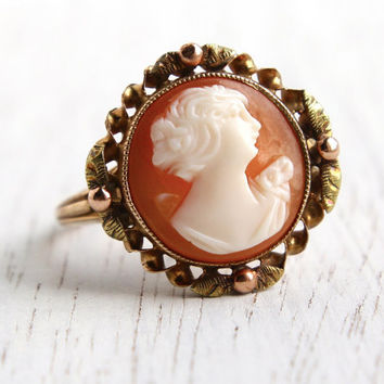 Antique 10K Rose & Yellow Gold Art Deco Cameo Ring - Art Nouveau Size 7 1/2 Carved Shell Fine Jewelry / Round Victorian Revival