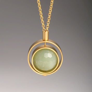 Valentine's Day Sale -10% off - GREEN RIVER pendant. 2 gold-plated rings with a jade stone.