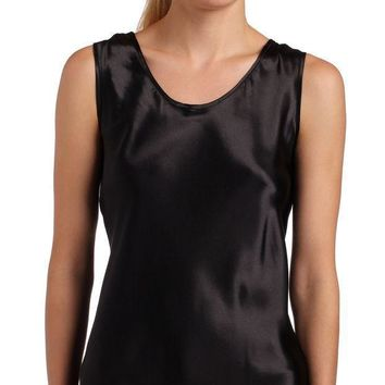 Women¡¯s Satin Charmeuse Tailored Tanktop Camisole Black X Large