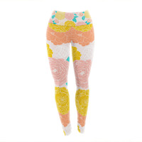 "Anneline Sophia ""Peonies Peach"" Yellow Pink Yoga Leggings"