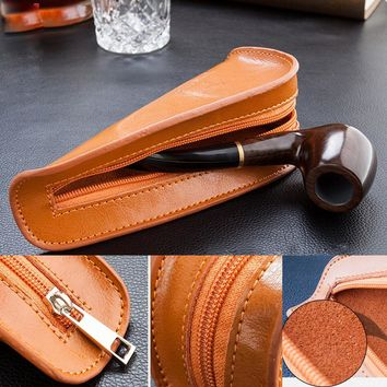 Firedog Portable Genuine Leather Single Smoking Pipe Pouch Bag Holder Tobacco Pipe Pouch Case