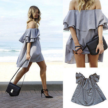 Women Short Mini Off The Shoulder Strapless Ruffle Dress Tops Clubwear Prom Grey