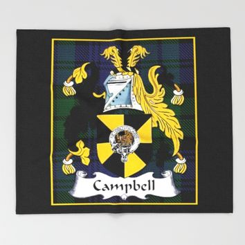 Campbell Clan Scottish Coat Of Arms And Crest Throw Blanket by Theresa Campbell D'August Art