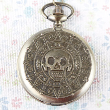 Pirates of the Caribbean octopus watch necklace skull pocket watch