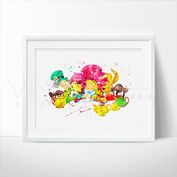 Alice in Wonderland + Friends Watercolor Art Print