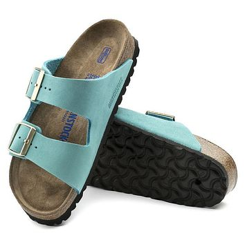 Best Online Sale Birkenstock Arizona Soft Footbed Nubuck Leather Turquoise 1011259 San