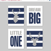 ON SALE boy Wall Art, nursery decor Wall Art Prints Deer Dream Big Little One  - Baby Boy Nursery Decoration- Navy Gray Decor DD-002