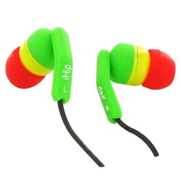 iHip Rasta Fashionable Noise Isolating Earbuds