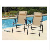 Outdoor Folding Bungee Chairs Tan  Set of 2 Garden Patio Deck Portable Headrest