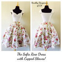 The Sofia Rose Dress, Capped Sleeve Pin Up White Floral ROCKABILLY Bridesmaid, Off the Shoulder, 1950s Style Casual Wedding, Semi Formal