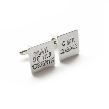 Man of My Dreams Square Personalized Hand Stamped Wedding Cufflinks