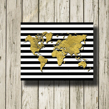 World Map Gold Black White Stripe Printable Instant Download Digital Art Print Wall Art Home Decor G187