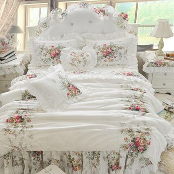 Cool 4/6/8pcs Korean Princess Bedding Set Luxury Rose Printing Lace Quilt Cover Ruffles Bedspread Bed Sheet Cotton Queen King SizeAT_93_12