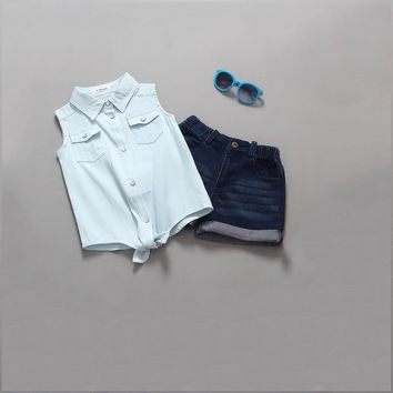Dark Blue Girls Summer Rolled Denim Shorts and Light Blue Shirt