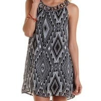 Black Combo Caged Geometric Print Shift Dress by Charlotte Russe