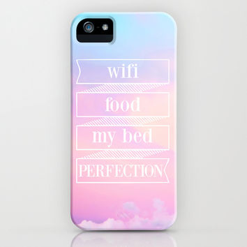 wifi, food, my bed, perfection iPhone & iPod Case by Sara Eshak