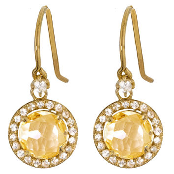 "Suzanne Kalan ""The Pave Collection"" 14K Champagne Topaz Drop Earring"