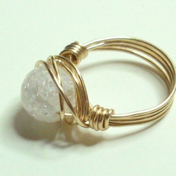 White Crackle Rock Crystal and Gold Wire Wrapped Ring