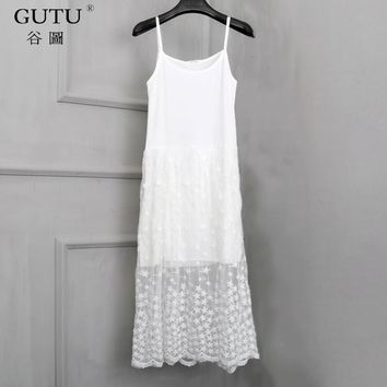 [GUTU] 2018 Spring New Pattern Solid Color Sleeveless Halter Mesh Knee-Length Ladies Inside Lace Sling Sweet Dress BA00200