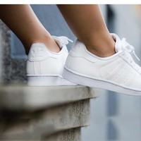 ADIDAS Shell-toe Trending Women Men Casual Flat Running Sport Shoes Sneakers Pure White I