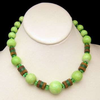 Green Mottled Yellow Glass Crystal Brass Beads Vintage Necklace Large Chunky