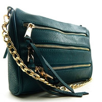 Triple Zipper Chain Strap Clutch - Teal or Purple