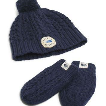 The North Face? Boys' Baby Minna Collection Beanie & Mitten Set - Baby   Bloomingdales