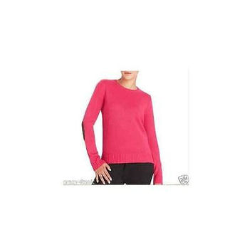 Faded Glory Women's Crew Neck Sweater W/Elbow Patch, Fuchsia, Small (4-6)